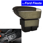 Leather Car Center Console Armrests Storage Box for Ford Fiesta 2003~2013 2014