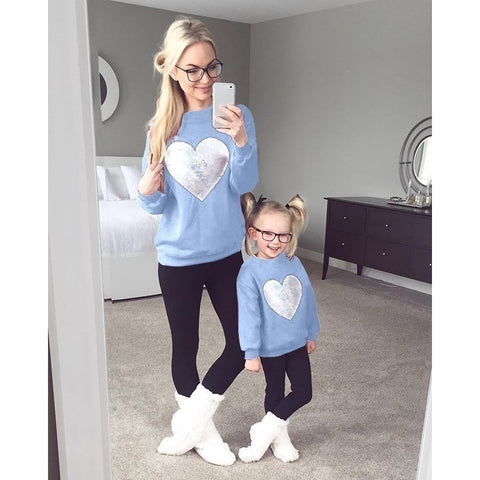 Family Shirts Mother and Daughter Long Sleeve Sweatshirt Parent-child Love Print Tops
