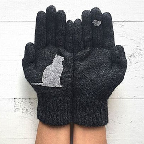 2018 Winter New Fashion Woman Gloves Warm Knitted Gloves Female Winter Autumn Gloves Funny Animal Print Mittens