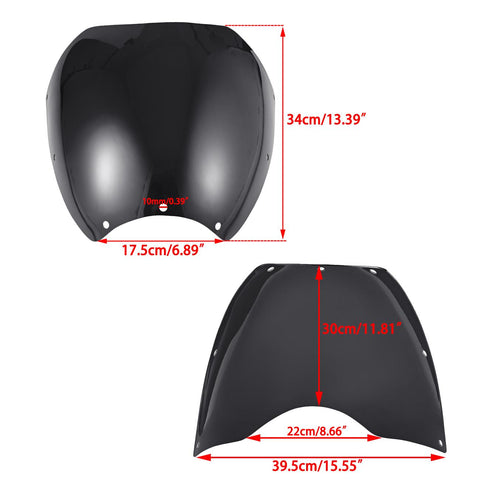 Motorcycle Cafe Racer Retro Drag Black Windshield Wind Screen for Harley Davidson Dyna 2006-2017 Street Bob FXDB 聽