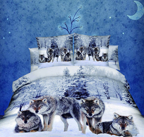 100% Cotton 4pcs 3d Print Bedding Set Wolf in the Snow