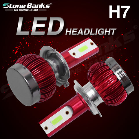 H7 LED Headlight Fog Driving Light Hi-Low Lamps 8000K Ice Blue Bulbs