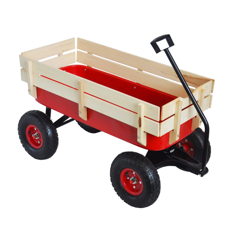 Outdoor Wagon All Terrain Pulling w/Wood Railing Air Tires Children Kid Garden(Red)