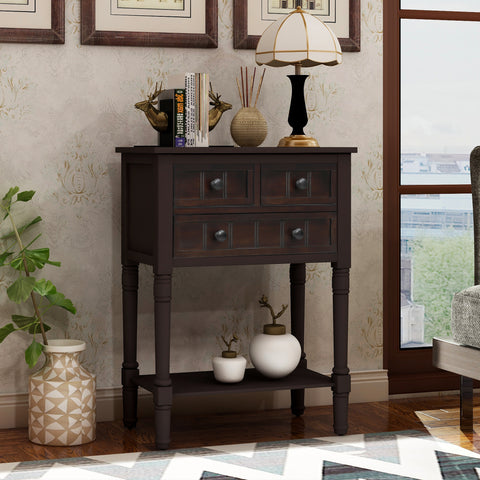 Narrow Console Table, Slim Sofa Table with Three Storage Drawers and Bottom Shelf for Living Room, Easy Assembly