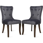 Dining Chair Tufted Armless Chair Upholstered Accent Chair, Set of 4 (Grey)