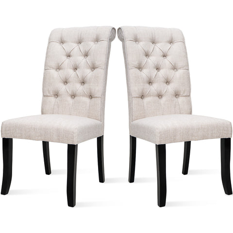 TOPMAX Tufted Arm Dining Accent Chair, Set of 2 (Beige)