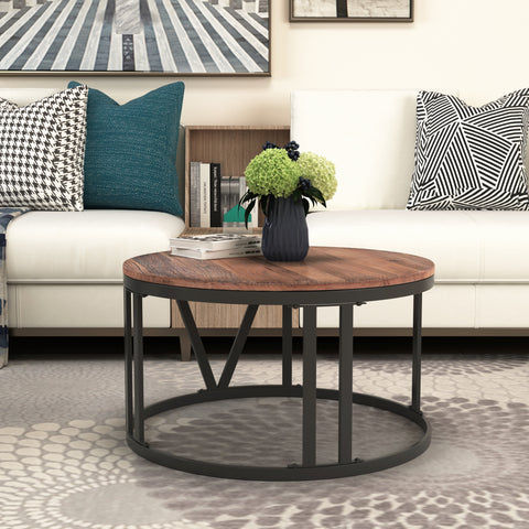 "Rustic Coffee Table Old Elm Wood Desktop With Roman Numerically Shaped Iron Legs(Ø31.5"")"