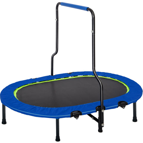 Parent-Child Twin Trampoline with Handrail and Safety Cover, Mini Kids Trampoline for Two Kids, No-Spring Band Rebounder (Blue Cover)