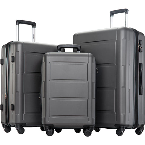 Expanable Spinner Wheel 3 Piece Luggage Set ABS Lightweight Suitcase with TSA Lock