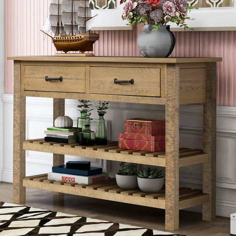 TREXM Retro Console Table for Entryway with Drawers and Shelf Living Room Furniture (Rustic)