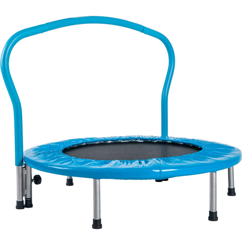 "36"" Kids Trampoline with Handrail, Mini Toddler Trampoline w/ Safety Padded Cover for Indoor Outdoor Cardio Exercise"