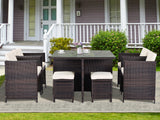 U_Style 9 Piece Rattan Conversation Set with Cushions, Patio Rattan Dining Set