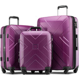 3 Piece Hardside Expanable Luggage Sets with Spinner Wheels & TSA Lock