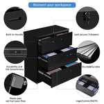 Lateral File Cabinet Lockable Heavy Duty Metal 3 Drawer File Cabinet (Black)