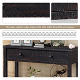Modern Farmhouse Console Table with One Drawer and Bottom Shelf, Wavy Edge Sofa Table