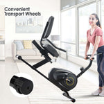 Recumbent Exercise Bike with 8-Level Resistance, Bluetooth Monitor, Easy Adjustable Seat, 380lb Weight Capacity