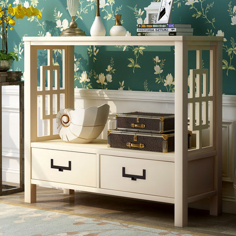 Console Sofa Table with Two Bottom Drawers, Farmhouse Narrow Sofa Table for Entryway