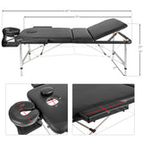 Lightweight Portable Massage Table wtih Aluminum Frame Foldable Spa Table with Carry Case for Salon (Black)