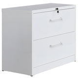 Lateral File Cabinet——Anti-tilt structure/More file space/Office lock design (2 Drawers, White)