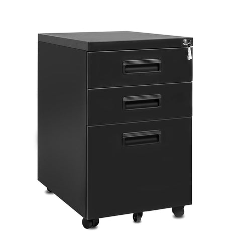 "3-Drawer Mobile Metal File Cabinet with Keys, 15.5"" x 20.5"" x 24.5"""