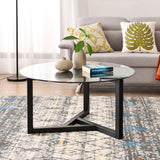 TREXM Round Glass Coffee Table Modern Cocktail Table Easy Assembly Sofa Table for Living Room with Tempered Glass Top & Sturdy Wood Base(Espresso