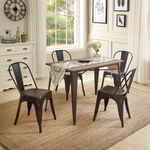 U_STYLE 5-Piece Metal Dining Set with Solid Wood