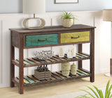 TREXM Console Table Sofa Table Console Tables for Entryway Hallway Bathroom Living Room with Drawers and 2 Tiers Shelves (Colorful)