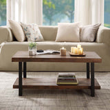U_STYLE Idustrial Coffee Table Solid Wood + MDF and Iron Frame with Open Shelf