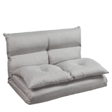 Fabric Folding Chaise Lounge Floor Sofa(Gray)