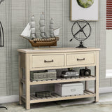 TREXM Retro Console Table for Entryway with Drawers and Shelf Living Room Furniture (Antique Grey)