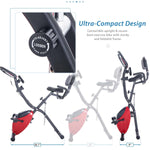 Folding Exercise Bike, Fitness Upright and Recumbent X-Bike with 10-Level Adjustable Resistance, Arm Bands and Backrest