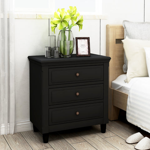 U_STYLE 3-Drawer Nightstand Storage Wood Cabinet
