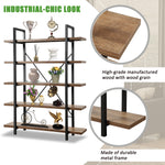 5-tier Industrial Bookcase with Rustic Wood and Metal Frame, Large Open Bookshelf for Living Room