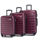 "Lightweight Hardside 3 Piece ABS Luggage Set with Spinner Suitcase 20"" 24"" 28"""