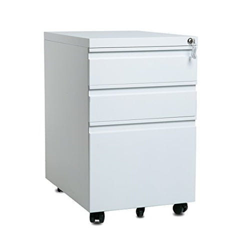 3-Drawer Mobile Metal File Cabinet with Keys, Fully Assembled Except Casters (White with Curved Handle)
