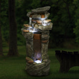 Outdoor 4-Tier Floor Rack Water Fall Fountain with White LED Light for Patio Yard Garden Lawn-42.13""