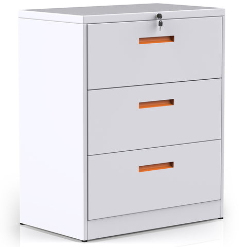 Metal Lateral File Cabinet with Lock (White+Orange, 3-Drawers: 35.4W×17.7D×40.3H)