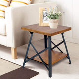U_STYLE Industrial End Table with Solid Wood Top, Metal Base