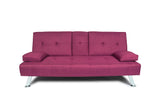 FUTON SOFA BED SLEEPER PURPLE FABRIC