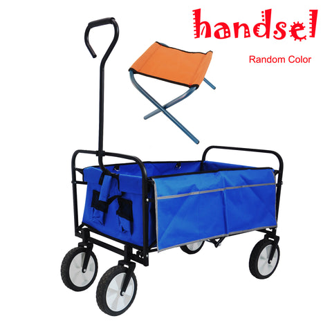 Folding Wagon Garden Shopping Beach Cart (Blue)