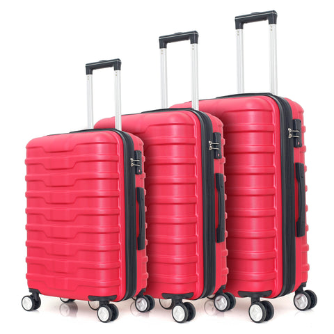 ABS luggage 3pc set hardside suitcase light weight with expandable