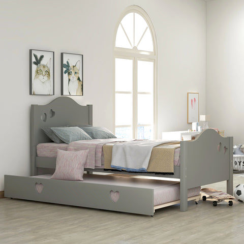 Kid platform bed with trundle, loving shape, Gray