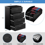 HomeOffice Lateral File Cabinet—Metal Steel filing cabinet with lock, Anti-tilt structure/4 Drawers/ Assembly required(Black)