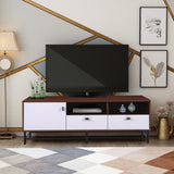 TV Media Stand with Metal Legs, Leather Buckles for TVs' up to 65 inches in Living Room(Dark Brown)