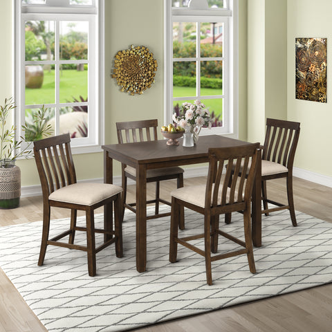 5-Piece Counter Height Dining Set, Wood Dining Table and 4 Chairs, with Upholstered Seat and Footrest, Yellow Oak