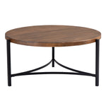 Round Coffee Table Industrial Style Tea Table Metal Frame for Living Room, 35.4 inch, Easy Assembly