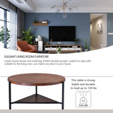 Coffee Table Round Industrial Design Metal Legs with Storage Open Shelf for Living Room, Easy Assembly