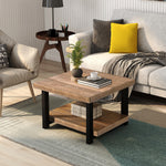 "Rustic Natural Coffee Table with Storage Shelf for Living Room, Easy Assembly (26""x26"")"