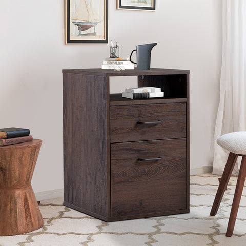 File cabine/MDF Vertical Filing Cabinet with 2 Drawers -Walnut