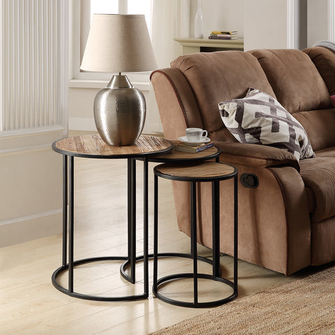 U_STYLE Rustic Metal Nesting Side End Tables,Set of 3,